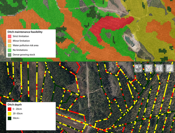 Screenshot of ditch maintenance map layers from Finland