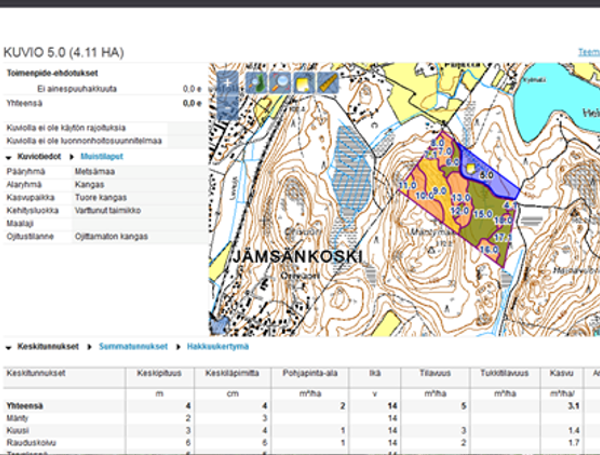 Screenshot of Metsäsoppi web service showing map and forest stand data
