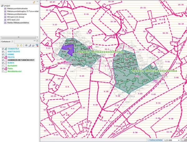 Screenshot of MörGIS system showing forest planning data in Finland