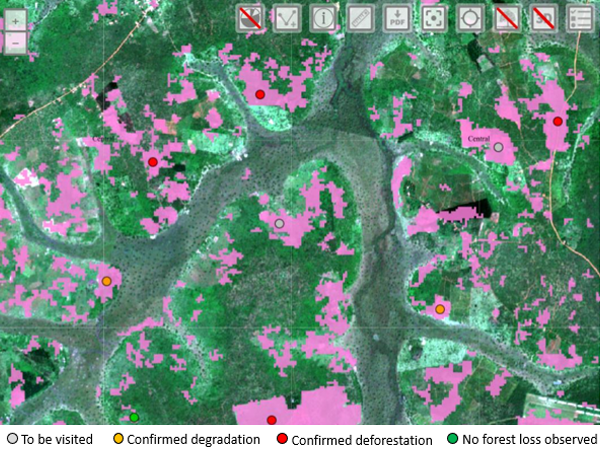 Screenshot of forest cover loss platform of National Forest Authority in Uganda